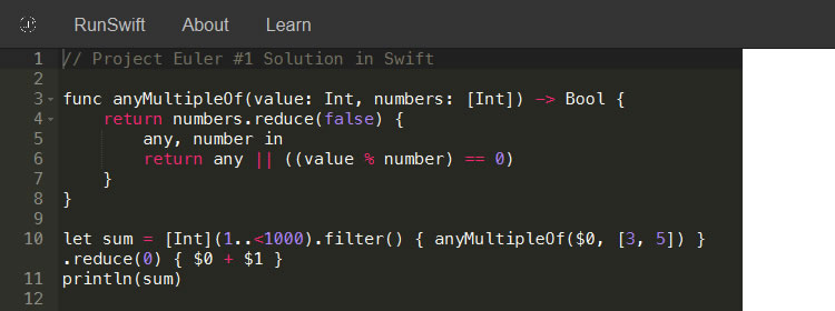 RunSwift, try Apple's Swift programming language from within your browser